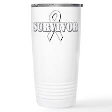 White Ribbon Survivor Travel Mug