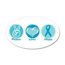 Peace Love Teal Hope 38.5 x 24.5 Oval Wall Peel