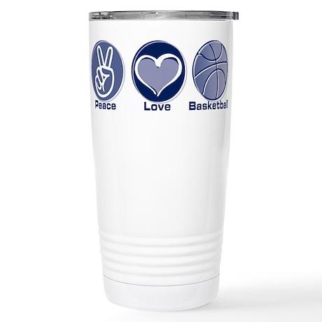 Peace Love Basketball Stainless Steel Travel Mug