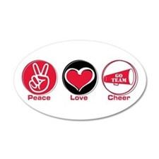 Peace Love Cheer Red 38.5 x 24.5 Oval Wall Peel