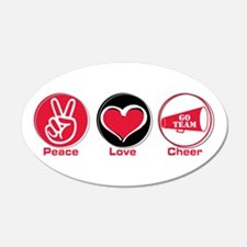 Peace Love Cheer Red 22x14 Oval Wall Peel