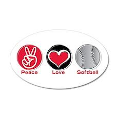 Peace Love Softball red 22x14 Oval Wall Peel