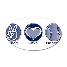 Peace Love Baseball 22x14 Oval Wall Peel