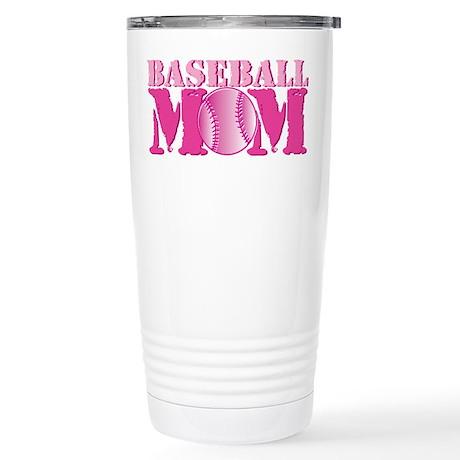 Baseball Mom pink Stainless Steel Travel Mug