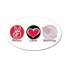 Peace Love Running 22x14 Oval Wall Peel