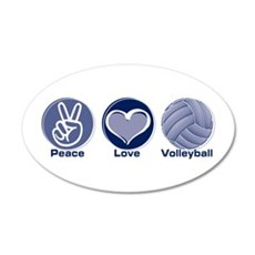 Peace Love Volleyball 38.5 x 24.5 Oval Wall Peel