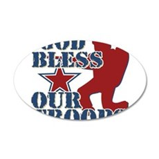 God Bless Our Troops 22x14 Oval Wall Peel