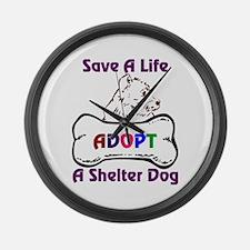 Funny Save a life adopt Large Wall Clock