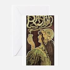 Vintage Cafe Rajah Greeting Card