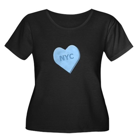 Sweetheart NYC Women's Plus Size Scoop Neck Dark T