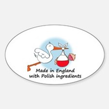Stork Baby Poland England Sticker (Oval)