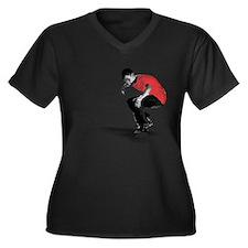 Skater Women's Plus Size V-Neck Dark T-Shirt