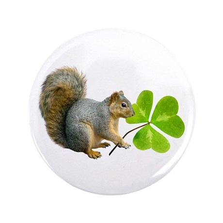 "Shamrock Squirrel 3.5"" Button"