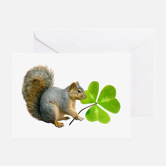 Shamrock Squirrel Greeting Card