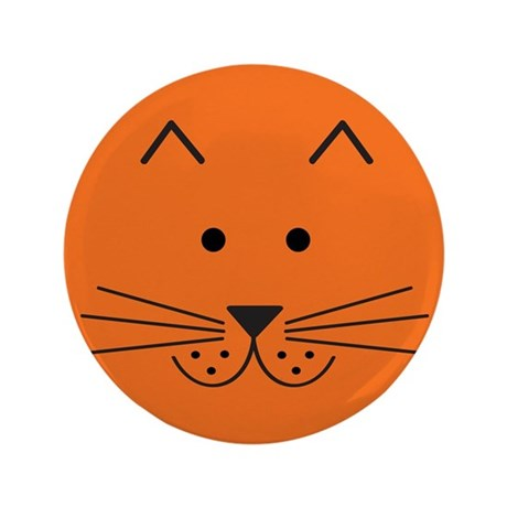 "Cartoon Cat Face 3.5"" Button"