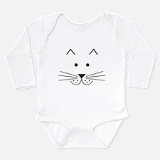 Cartoon Cat Face Long Sleeve Infant Bodysuit