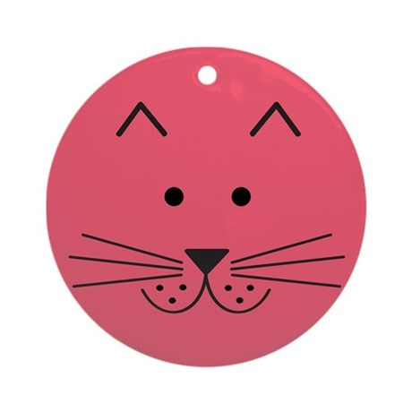 Cartoon Cat Face Ornament (Round)
