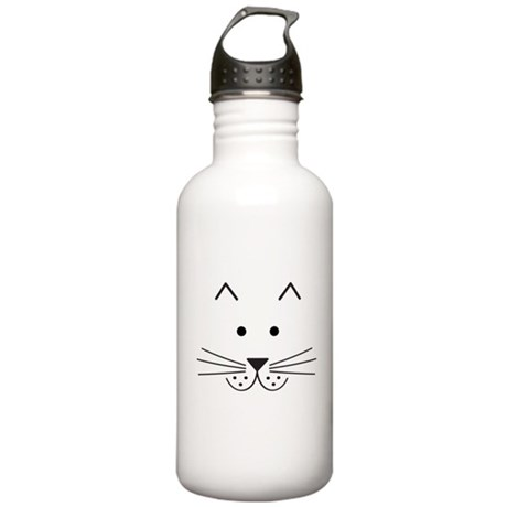 Cartoon Cat Face Stainless Water Bottle 1.0L