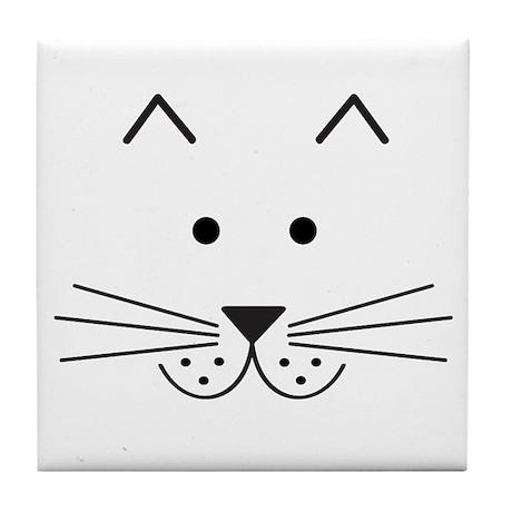 Cartoon Cat Face Tile Coaster