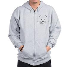 Cartoon Cat Face Zip Hoodie