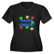 Paint Check! Women's Plus Size V-Neck Dark T-Shirt