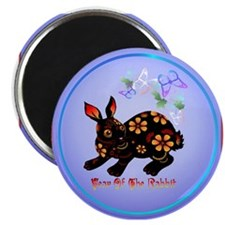 Year Of The Rabbit In Black Magnet