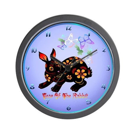Year Of The Rabbit In Black Wall Clock