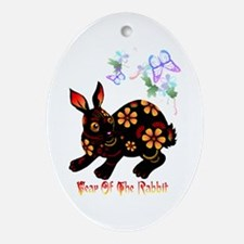 Year Of The Rabbit In Black Ornament (Oval)