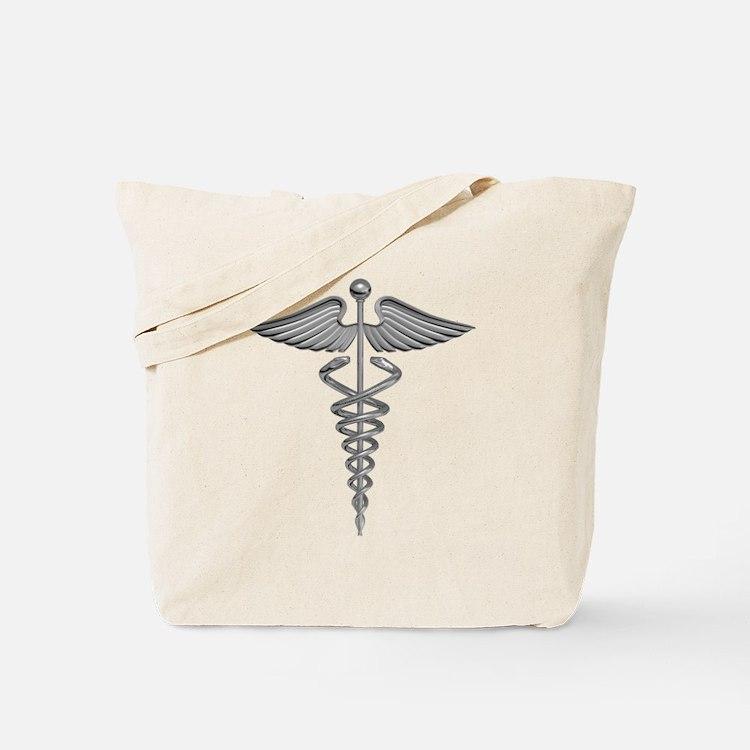 Silver Medical Symbol Tote Bag