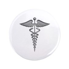 "Silver Medical Symbol 3.5"" Button"