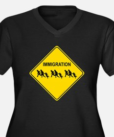 Immigration Crossing Women's Plus Size V-Neck Dark