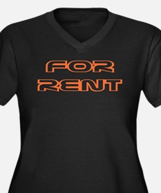 For Rent Women's Plus Size V-Neck Dark T-Shirt