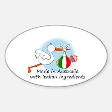 Stork Baby Italy Australia Sticker (Oval)