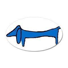 Blue Dachshund 22x14 Oval Wall Peel