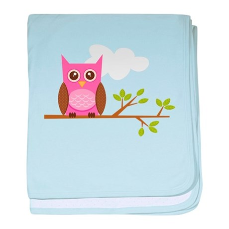 Pink Owl on Branch baby blanket