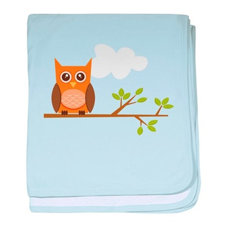 Orange Owl on Branch baby blanket