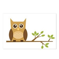 Brown Owl on Branch Postcards (Package of 8)