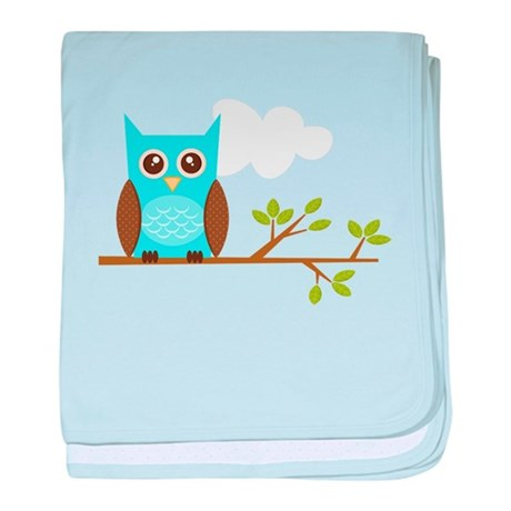 Blue Owl on Branch baby blanket