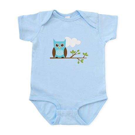 Blue Owl on Branch Infant Bodysuit