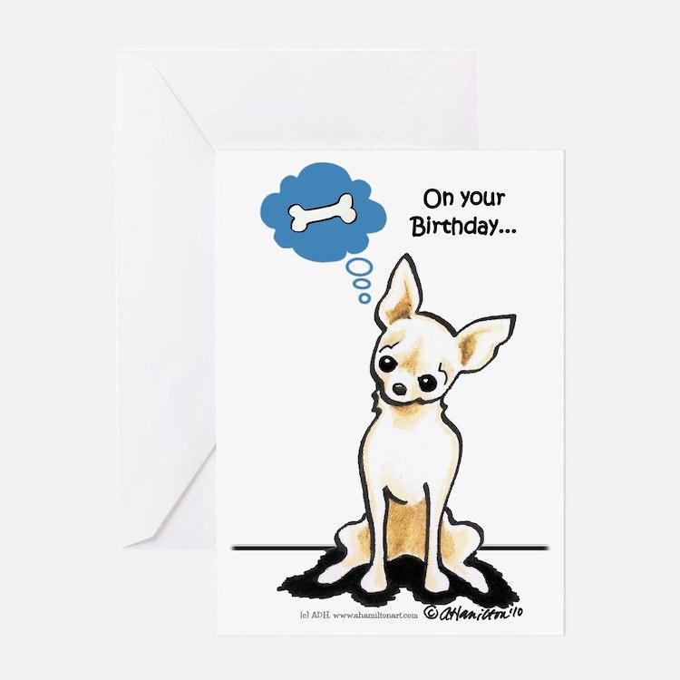 Chihuahua Bone Birthday Greeting Card