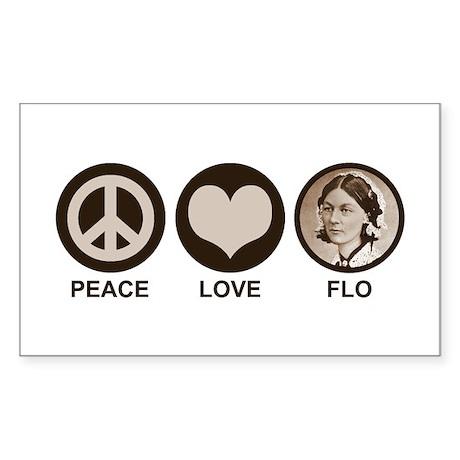Peace Love Flo Sticker (Rectangle)