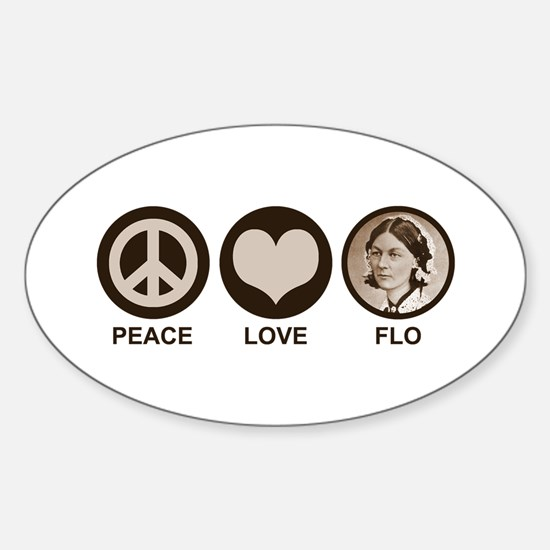 Peace Love Flo Sticker (Oval)