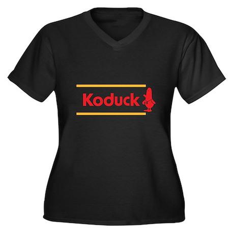 WTD: Koduck Women's Plus Size V-Neck Dark T-Shirt