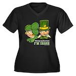 I'M IRISH Women's Plus Size V-Neck Dark T-Shirt