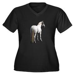 White horse Women's Plus Size V-Neck Dark T-Shirt