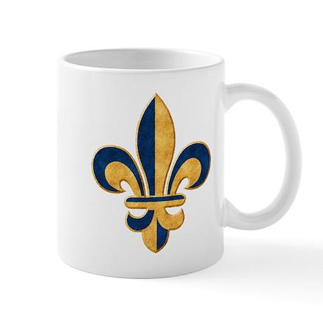 Blue and Gold Fleur de Lys Mug