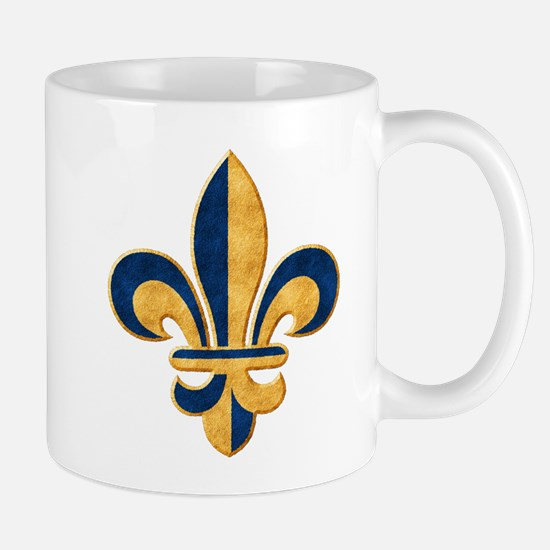 Blue and Gold Fleur de Lys Mug