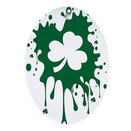 Irish Shamrock Splat Ornament (Oval)