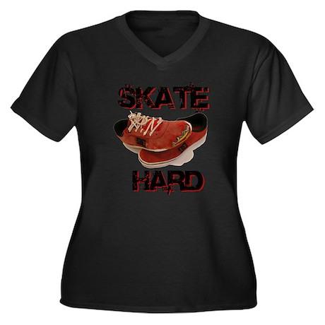 Skate Hard Women's Plus Size V-Neck Dark T-Shirt