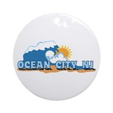 Ocean City NJ - Waves Design Ornament (Round)